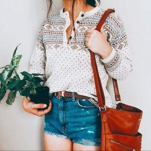 VINTAGE • chunky hippie boho Nordic Henley sweater